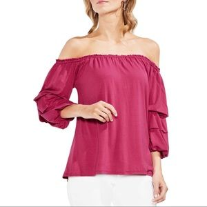 Vince Camuto Off The Shoulder Tiered Top NWOT SZ S